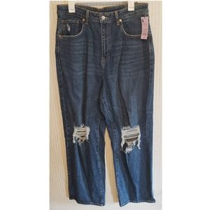 Distressed Highest Rise Baggy Jeans 14/32R Ripped